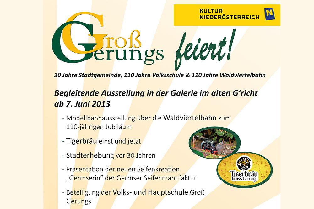 Jubiläumsausstellung 30 Jahre Stadtgemeinde, 110 Jahre Volksschule, 110 Jahre Waldviertelbahn